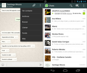 interfaz de WhatsApp para Android